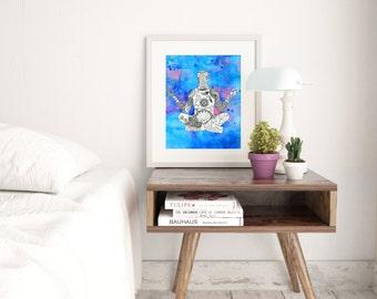 Yoga art, Yoga print, Yoga wall art, Yoga artwork, Namaste wall art, Gift for Yogi, Yoga lover gift, Yoga Decor, Blue Art, Be Here Now Art