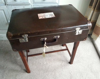 1940's Travel Trunk Table with built in drawer.