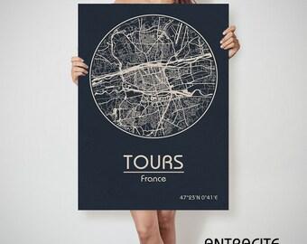 TOURS France map Tours art, Tours print, Tours, Tours map, Tours France, Tours wall art, Tours city map, Tours poster Tours canvas map