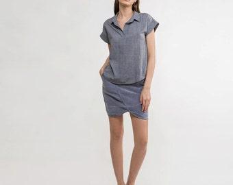 collared shirt,grey Blouse,loose shirt,formal shirt,polo shirt,short sleeve shirt, cotton blouse,cotton grey shirt,cuffed sleeves,Minimalist