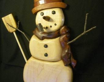 Snowman, Intarsia, and carved.