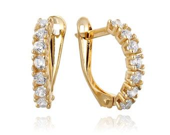 Unique Diamond Jewelry, 14k Gold Hoop Diamond Earrings, Diamond Earrings, Diamond Jewelry, Bridal Earrings,  Wedding Earrings, Diamond Hoops