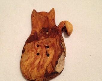 wooden cat button