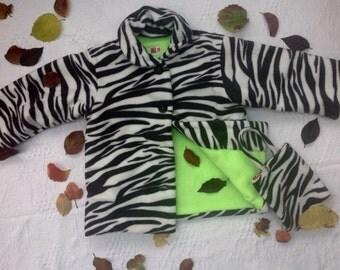 Zebra fleece lined coat. Age 5