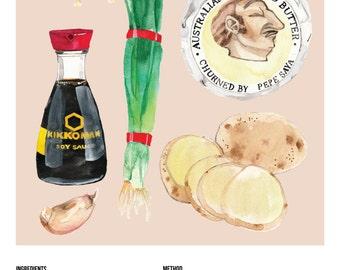 Illustrated Recipe Illustrated Food Asian Potatoes Recipe Illustration Print - A4