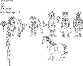 Rapunzel Color Your Own Articulated Paper Dolls