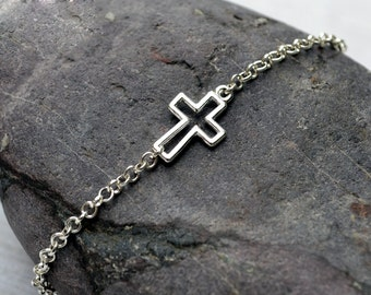 Husband gift for him Gift for men Silver Mens bracelet minimal cross bracelet minimal bracelet sideways cross jewelry charm bracelet for men