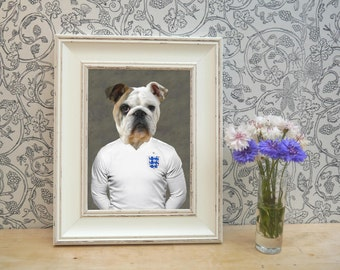 British BullDog in Football Shirt Framed Pet Portrait Print
