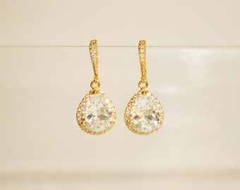 Wedding Jewelry Bridesmaid Jewellery Bridesmaid Earrings Bridal Earrings Gold Plated Cubic Zirconia Tear drop Dangle Earrings Gift