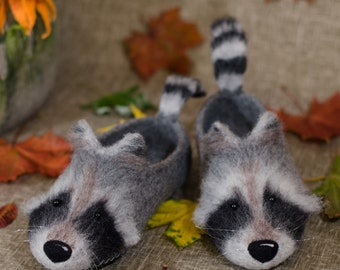 Raccoons, home Slippers felted from sheep wool.