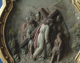 Antique French Church Station of the Cross, Fifth Station Jesus & Simonof Cyrene.