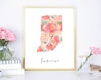 Indiana Watercolor Flower State - 8x10 print - 16x20 Print - DIY Print - Digital Download Print - Chic Wall Decor - Watercolor Floral State