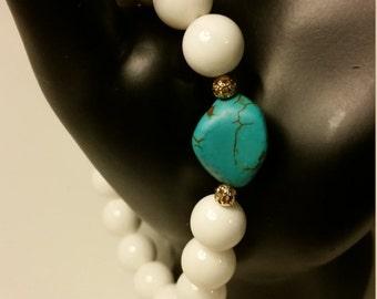 Turquoise Stone White Beaded Bracelet