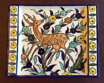 Armenian Pottery - Signed Jerusalem Balian - Tray with Deer and Flowers