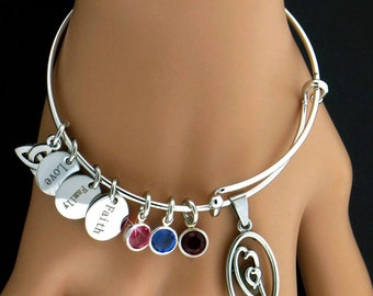 A Mother's Heart Birthstone Charm Bangle