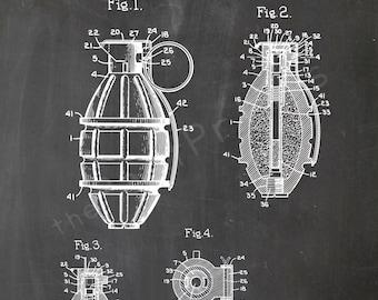 Grenade Printable   Military Print   Military Wall Art   Military Art   Military Decor   Patent Poster   Patent Print   Army Decor   Gift