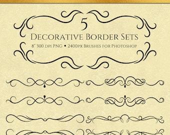 Decorative Border Sets - 10 Brushes for Photoshop, Commercial Use