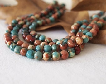 Strand Gemstone Beads Jade Dyed Turquoise Ochre Orange Round Size 6mm Quantity 62 - 64 Beads