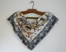 Oriental theme small square scarf, silk neck kerchief, beige and navy blue elephants and horses print, vintage fashion accessories
