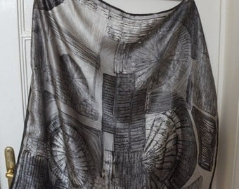 Silver gray silk scarf, square shawl, geometric print resembling brick vaults, vintage high quality fashion accessories