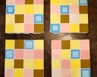 pink grid, canvases #1 - #4 - SOLD!!