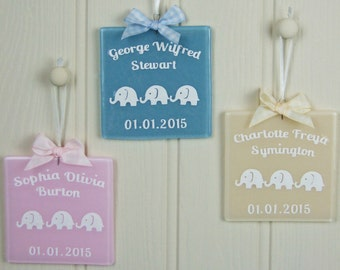 Personalised Handmade Fused Glass New Baby Keepsake with Elephant Papercuts by Jessica Irena Smith