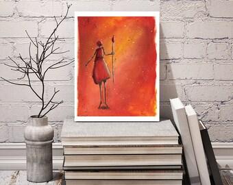 Female Warrior Art Print - Poster Artwork - African Art Print - Bedroom or Living Room Artwork - 8 x 10 inch - Signed by Artist Kathy Lycka