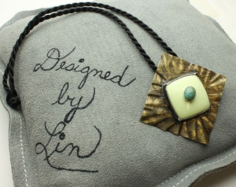 Morning Glory Necklace Stone on Stone with Turquoise, Lemon Agate