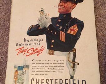 Vintage Cigarette Ad, Vintage Chesterfields Ad, Vintage Smoking Ad
