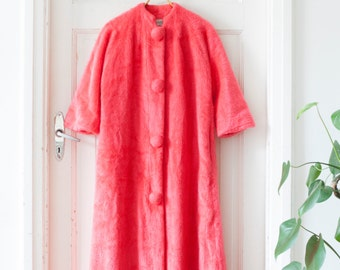 Vintage 60s House Robe Neon Pink Robe Long House Coat Coral House Robe Plush Gown Fluffy Robe Womens Medium Robe House Gown 70s Robe Neon M