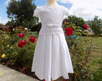 Princess-gown ceremony dress, white dress, girl, dress lace, communion-daughter of honour-satin cotton dress, girl 7/8 years