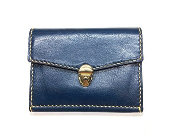leather purse/small wallet/womans wallet/blue wallet/leather walet