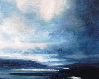 Twilight on the lake original oil painting on canvas abstract landscape