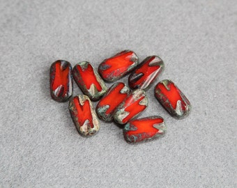 Opaque Red Gray Picasso Finish 16x8mm Czech Glass Beads, Flat Rectangle Pressed Bead, Authentic Handcrated DIY Jewelry Making, Craft