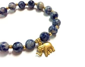 Genuine Sodalite with Brass Elephant Yoga Mala Bracelet - Natural Spirited Stones Bracelet - Healing Stones Bracelet - Stretch Bracelet