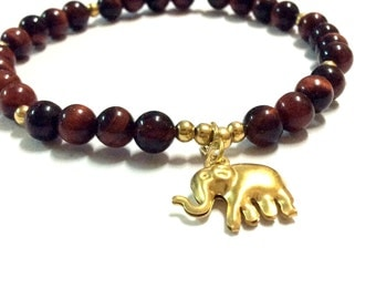 Genuine Red Tigers Eye with Brass Elephant Yoga Mala Bracelet - Natural Spirited Stones Bracelet -Healing Stones Bracelet - Stretch Bracelet