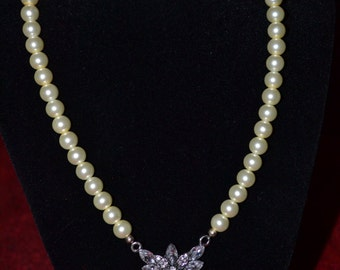 Ivory Pearl Necklace with vintage crystal pendant for bride or bridesmaid or any special occasion