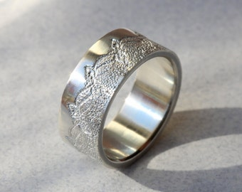 Wide Ring with Lace Texture, Anniversary Ring, Wedding Ring, Wedding Band, Silver Lace Ring, Unique Ring, Silver Textured Ring