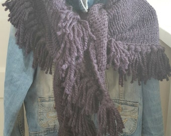 Shawl Poncho || ANNA shawl knitted dark blue