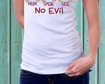 Hear No Evil, Speak No Evil, See No Evil Printed T-shirt