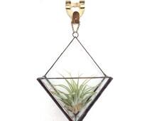 Stained glass geometric diamond terrarium wall hanging planter