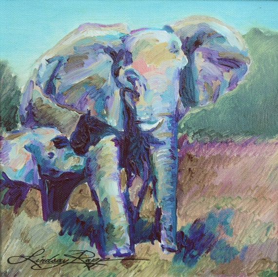 Mother an Baby Elephant ~ Original Painting