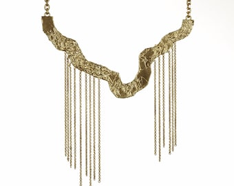 Chain and Foiled Metal Statement Necklace