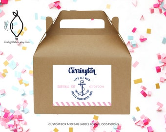 Bachelorette welcome bag/box labels, nautical welcome bag labels, survival kit labels, let's get nauti labels, nautical  - style 335L