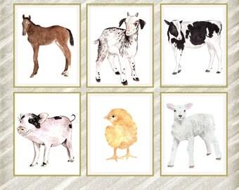 "Farm animal Prints: ""NURSERY PRINT"" Kids room Prints Nursery wall art Watercolor Baby Animal Prints Baby room decor Farm animals Set of 6"