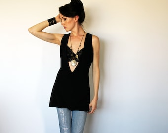 Deep V Tunic Tank in Black