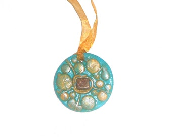 polymer clay pendant necklace with natulal stone