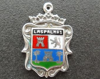 Spain Enamel Shield Charm Las Palmas Silver Travel Bracelet Charm Vintage Necklace Pendant Fob