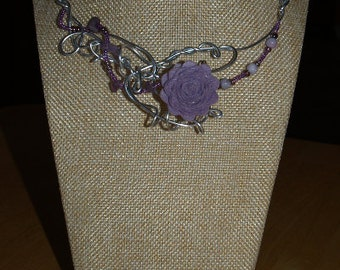 Lilac flower necklace, silver wire