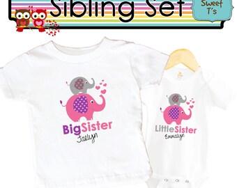 Big Sister Elephant Shirt SET Little Sister Pink Sibling Personalized Big Sister Shirts bodysuit SET